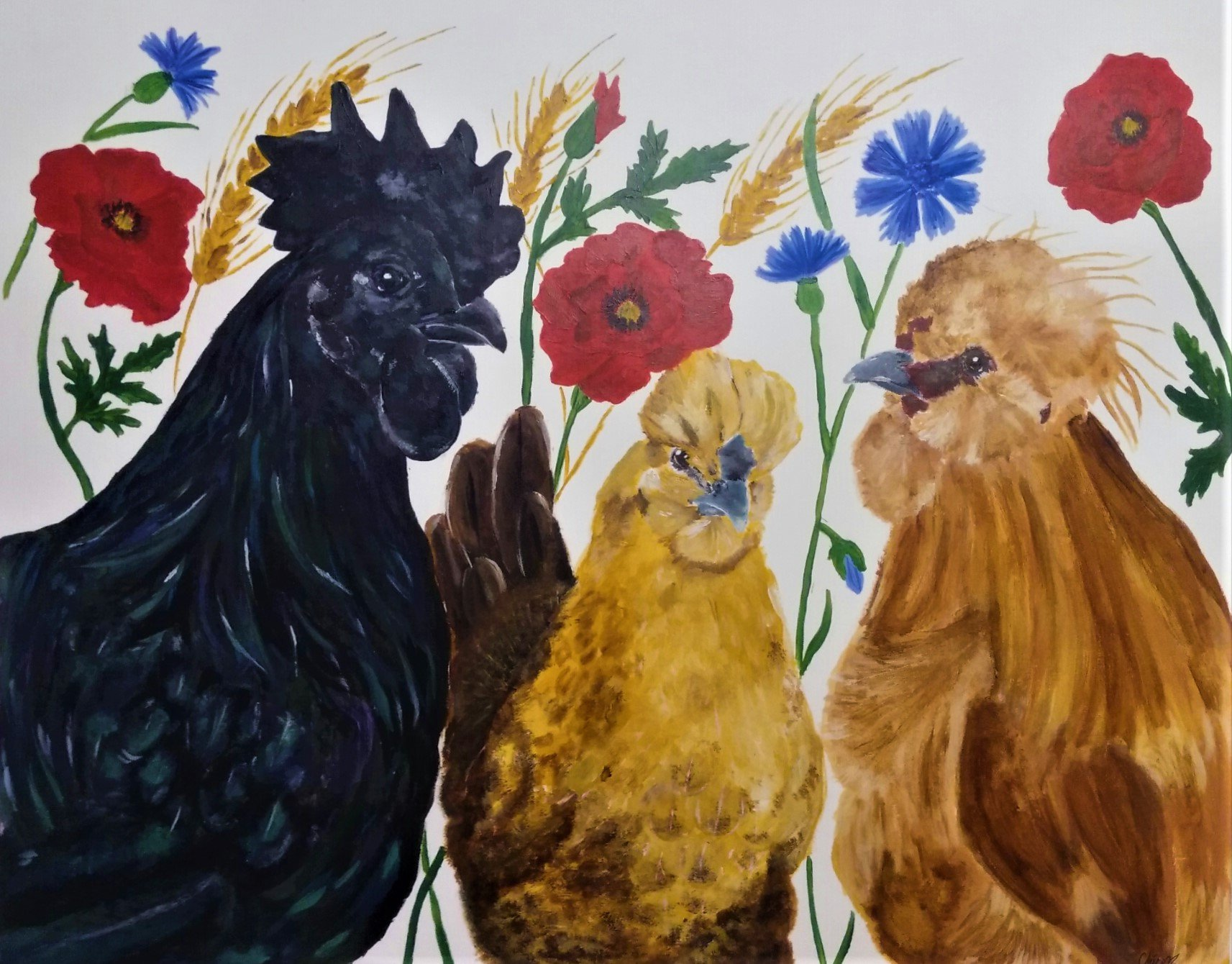 Chickens and flowers .jpg