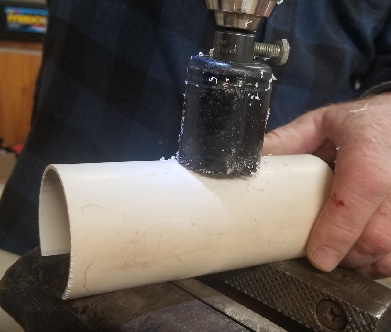 Drilling 1.5 in Hole in WN insulation holder.jpg