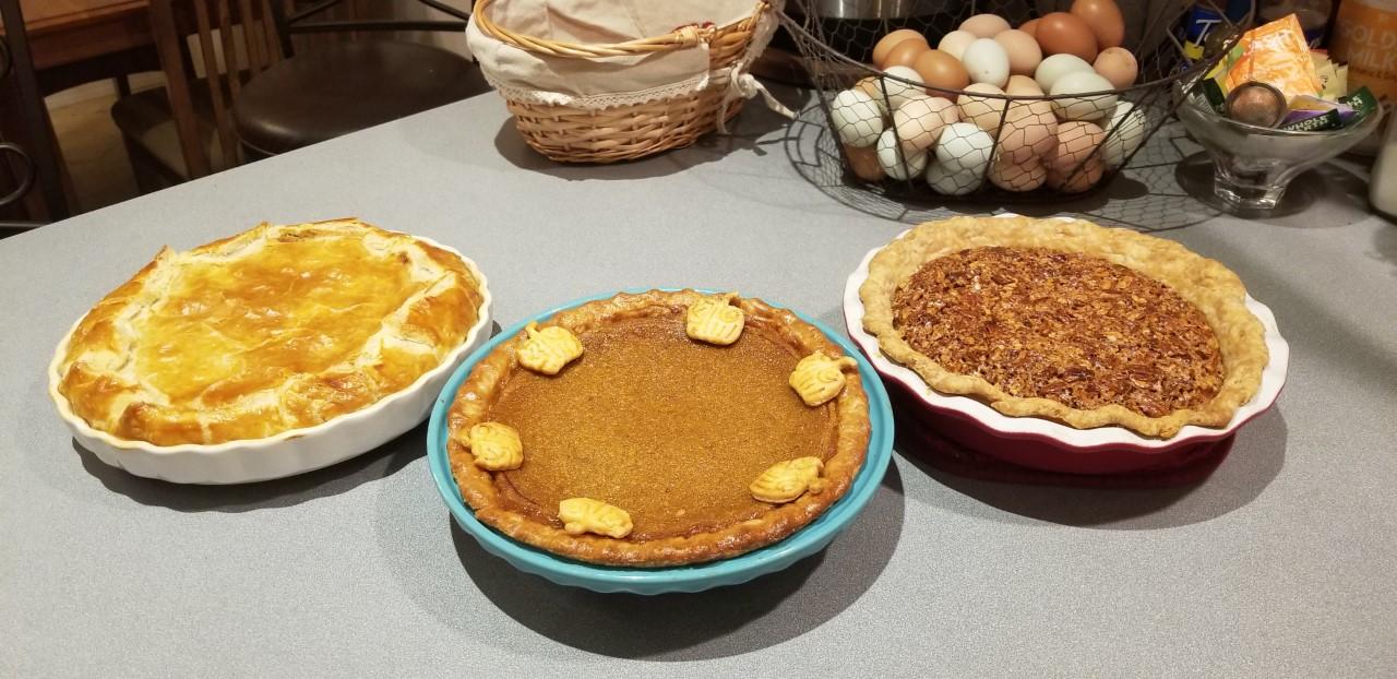 French Pumpkin, Pumkin & Pecan Pie Baked.jpg
