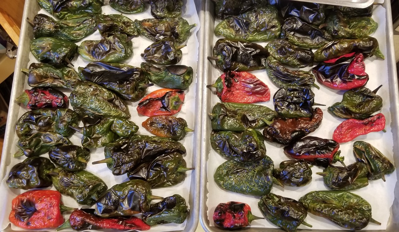 Poblanos 2 of 4 pans ready for freezing 9.28.2020.jpg