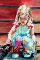 Painting I finished today of my Granddaughter and Chicken (Bossy)
