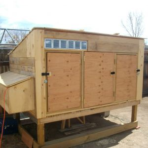 Unpainted completed coop prior to construction of the run