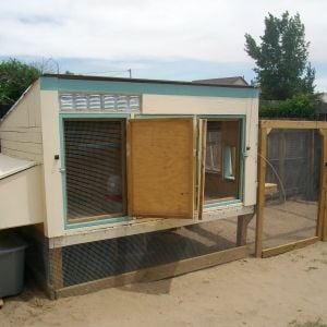 In full ventilation mode.  Two of the three main access doors opened and latched to each other.  The hardware cloth-covered doors under them can be opened as needed for access without having to close the open solid doors.  The coop is elevated 2' above ground on 4 by 4 posts and is 5'x8' with a 5'x12' run giving them 100 square feet of outside space to roam.  It stays nice and cool under the coop.