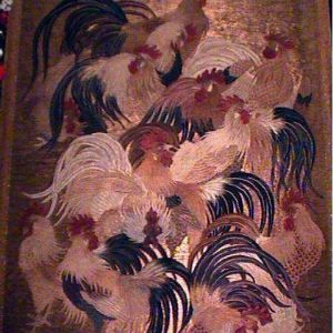 150-200 year old Japanese padded embroidery and string technique tapestry. Measures 5 feet wide, by 9 1/2 feet long.I restored this in 2000.Gold wrapped background threads.