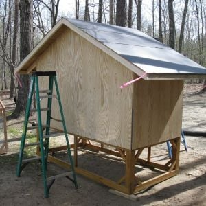 The coop is 4' x 8'.  The end walls are 4' high and the sides are 6' from bottom of floor framing to the peak of the gable. The coop sits on a 2' high pedestal but I would make the next one 3' high to avoid hitting your head on the sharp roof panels.