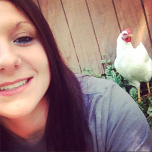 Me taking a selfie with my chicken lol