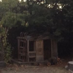 "Here is our original ""coop"" aka playhouse.  It took a lot of TLC, but it turned out to be a perfect home for the hens."
