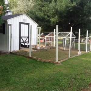 Fenced run attached to small coop.