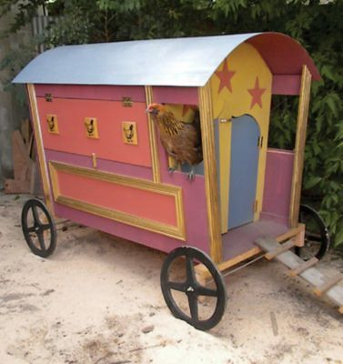 Gypsy wagon coop cool for Cool chicken coop plans