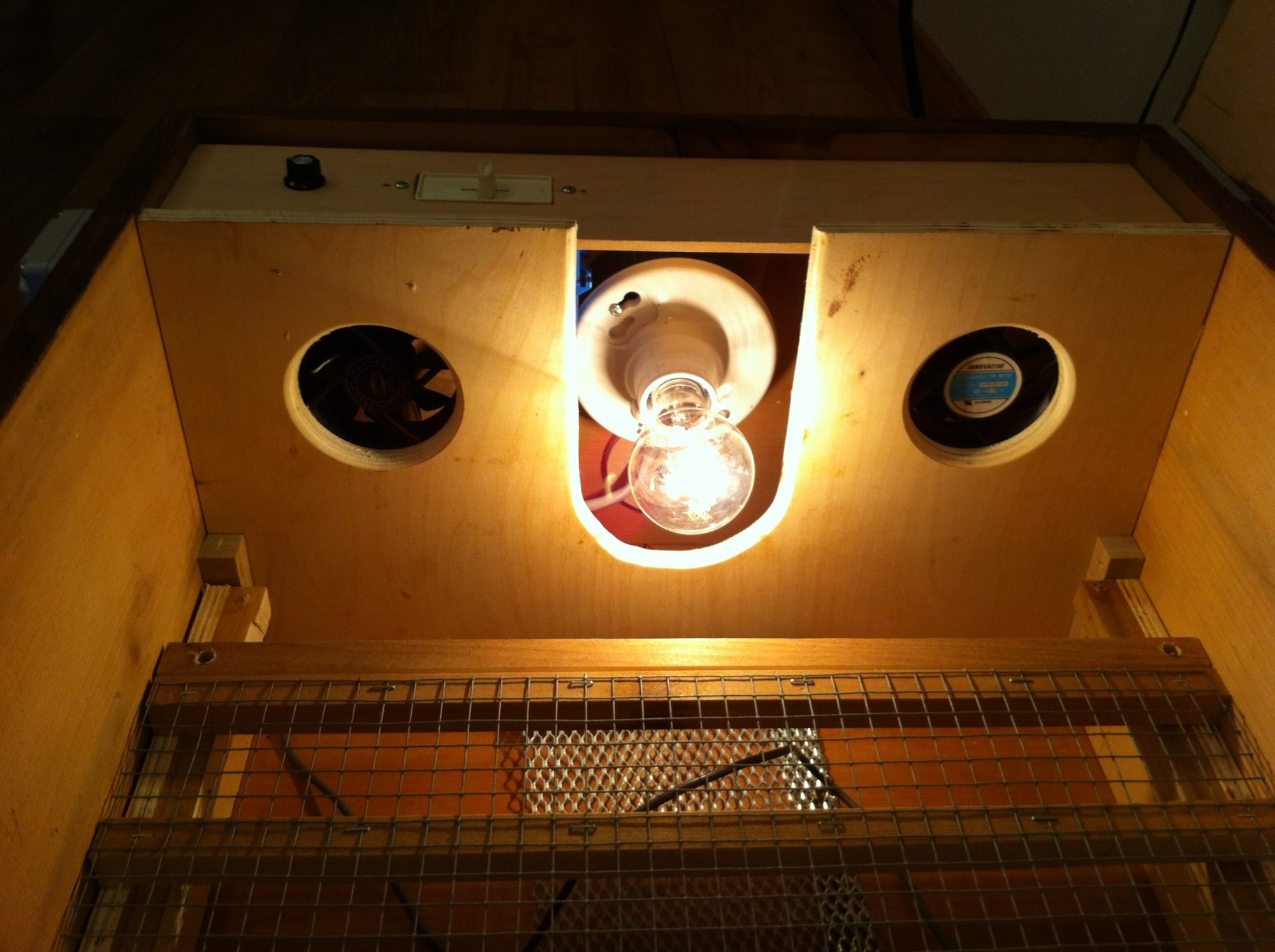 Dukes Incubator Backyard Chickens Temperature Controller Table Saw Ranco Remember The Fans This Is Where They Are Mounted Controlled By A Dimmer Which Far Too Big For Them So Its Really Just An On Off Switch