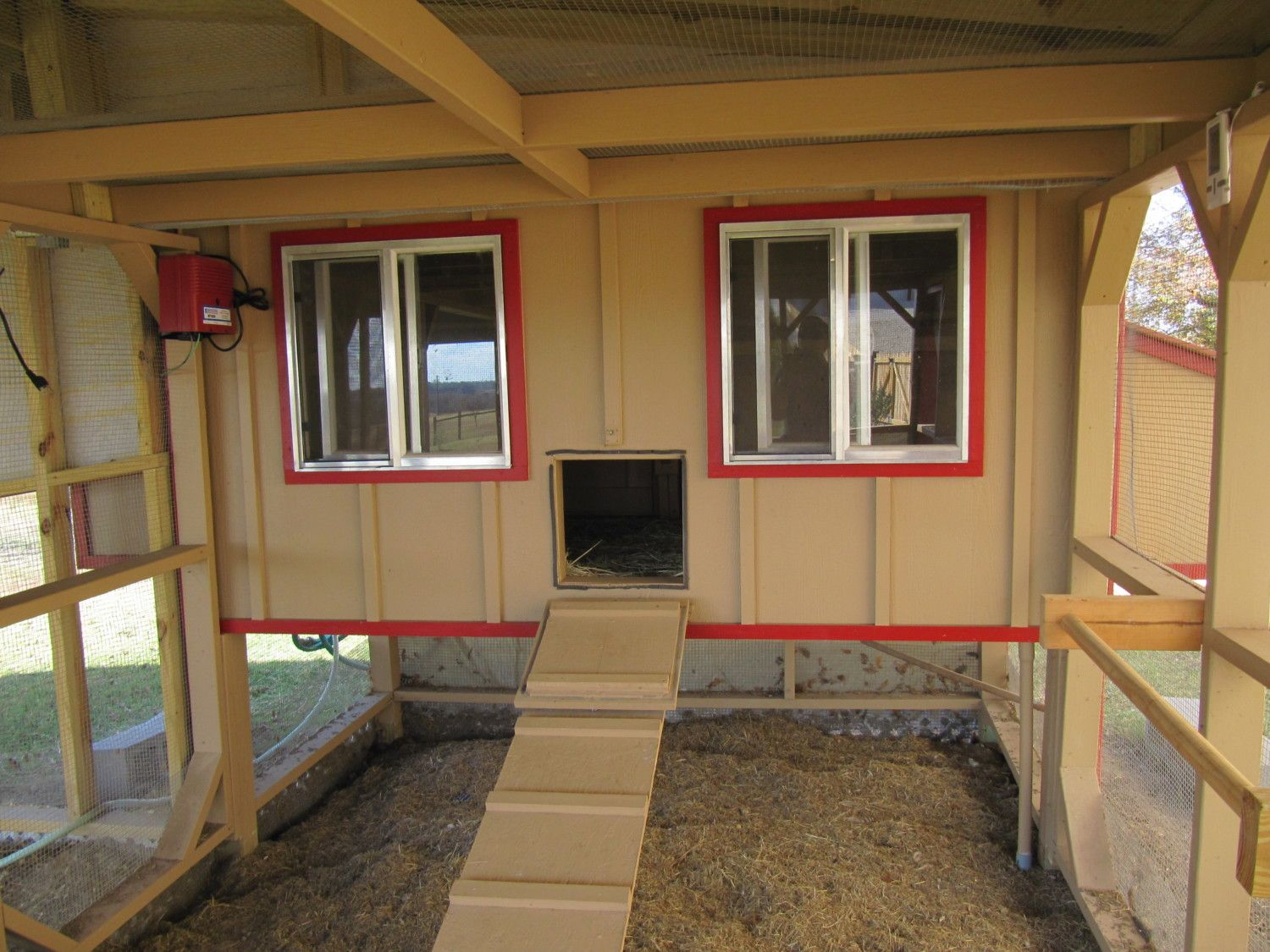 This is the coop we built for my girls last year, it also has a run 12 x 8, it has a metal roof