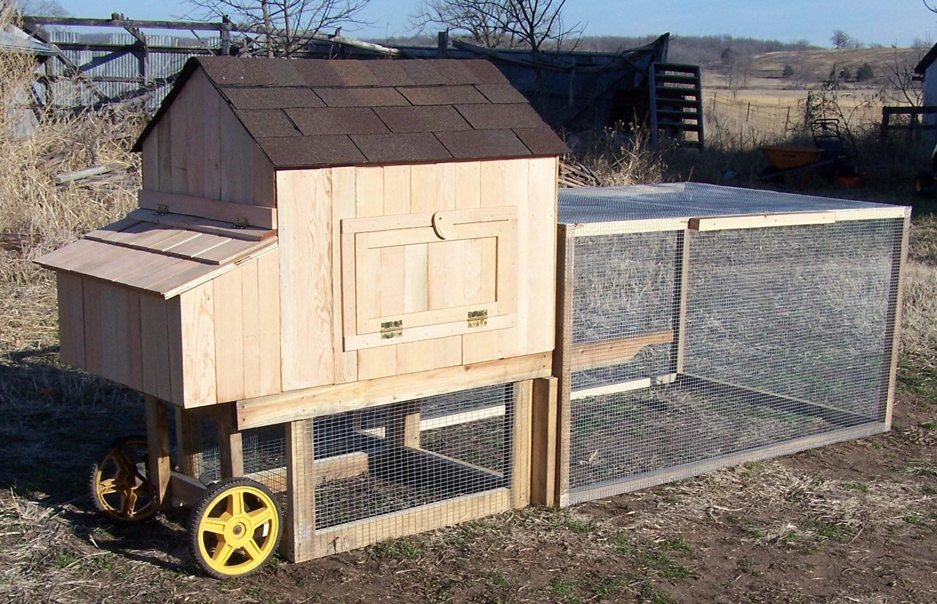 Covered wagon and chik 39 n hut mobile chicken coops for Portable coop