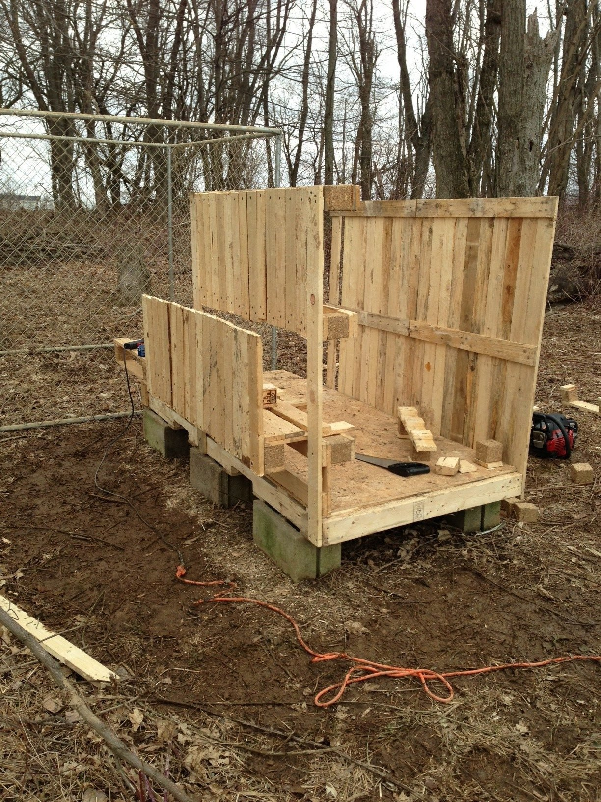 Pallet coop in the making backyard chickens community Chicken coop from pallet wood