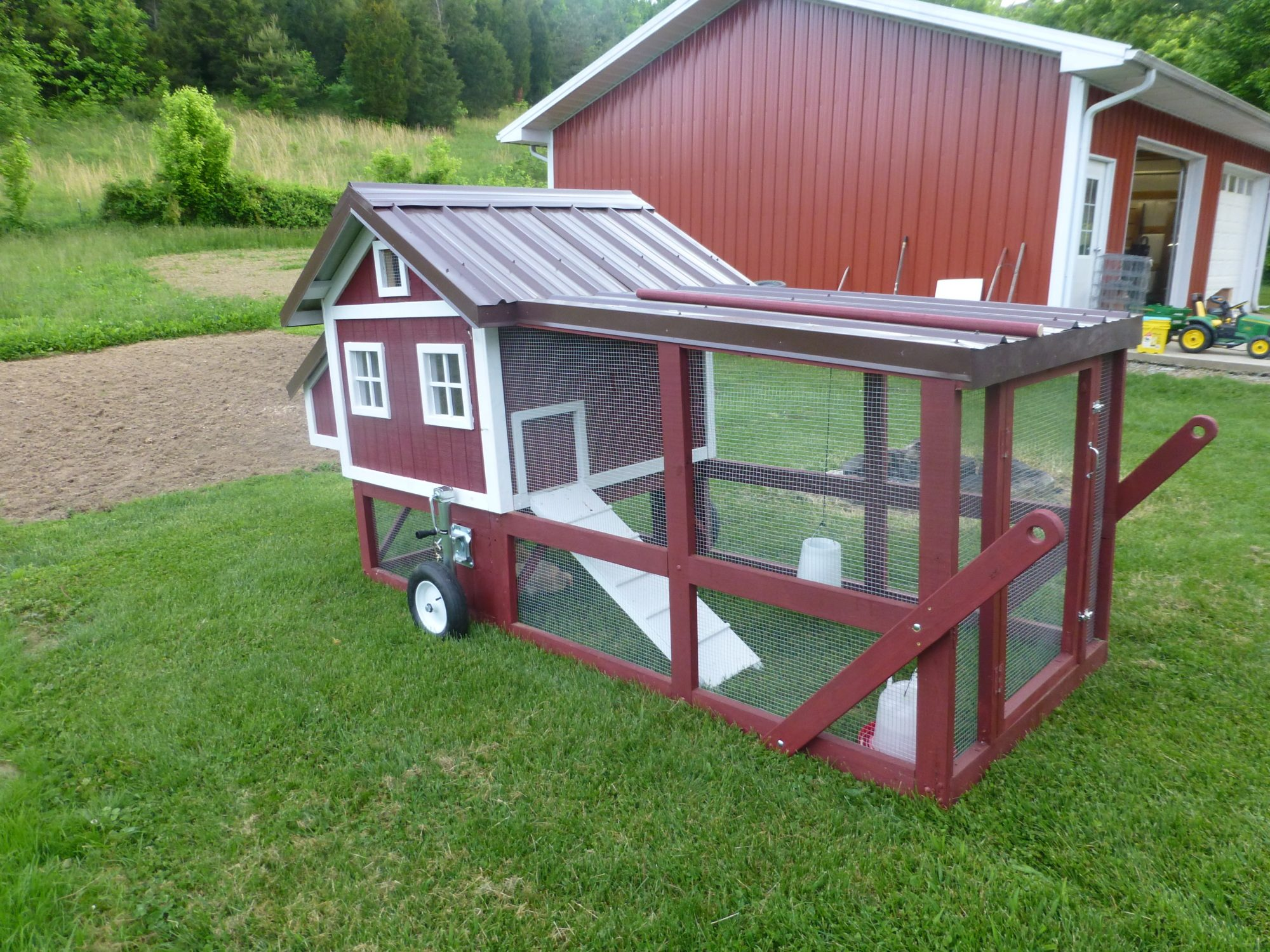 My new chicken tractor backyard chickens for Big chicken tractor