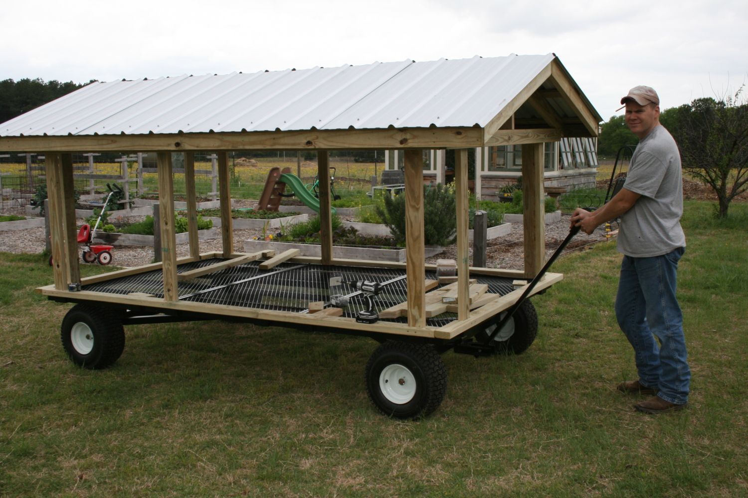 Large portable goose or duck coop wagon with water for Duck run designs