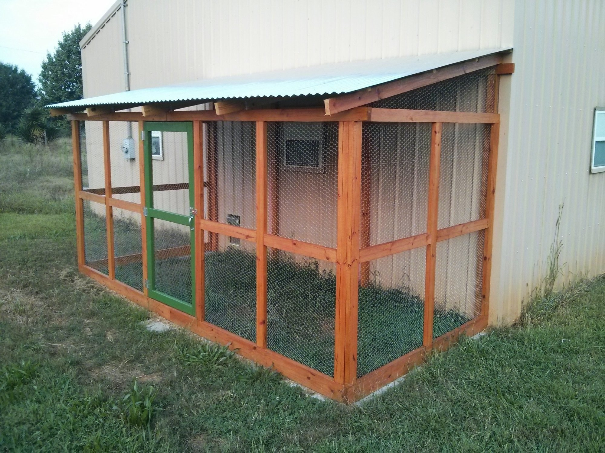 Pole barn coop part two the run backyard chickens Lean to dog house plans