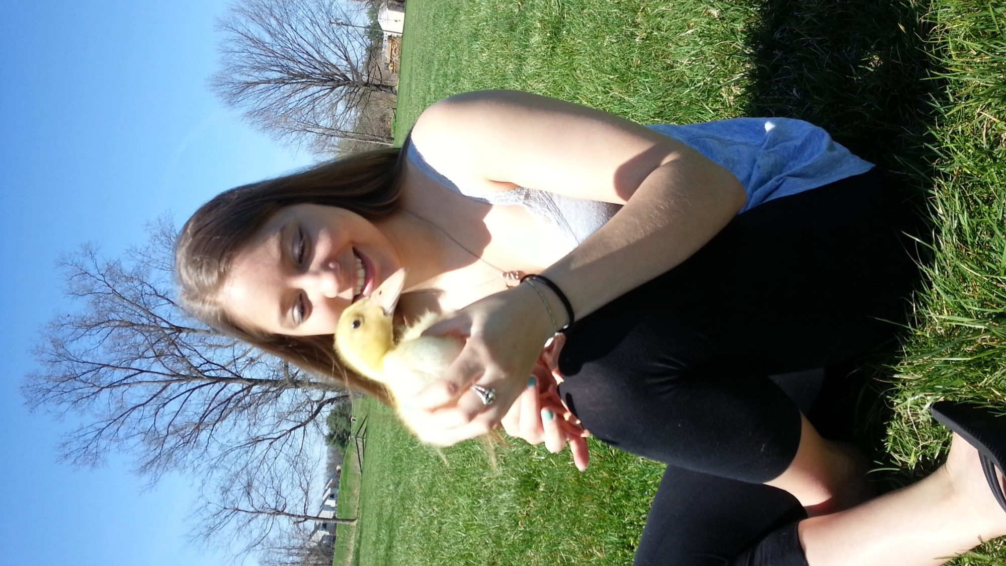 Me and my Pekin, Luna! This is when she was muuuch smaller and yellow :D