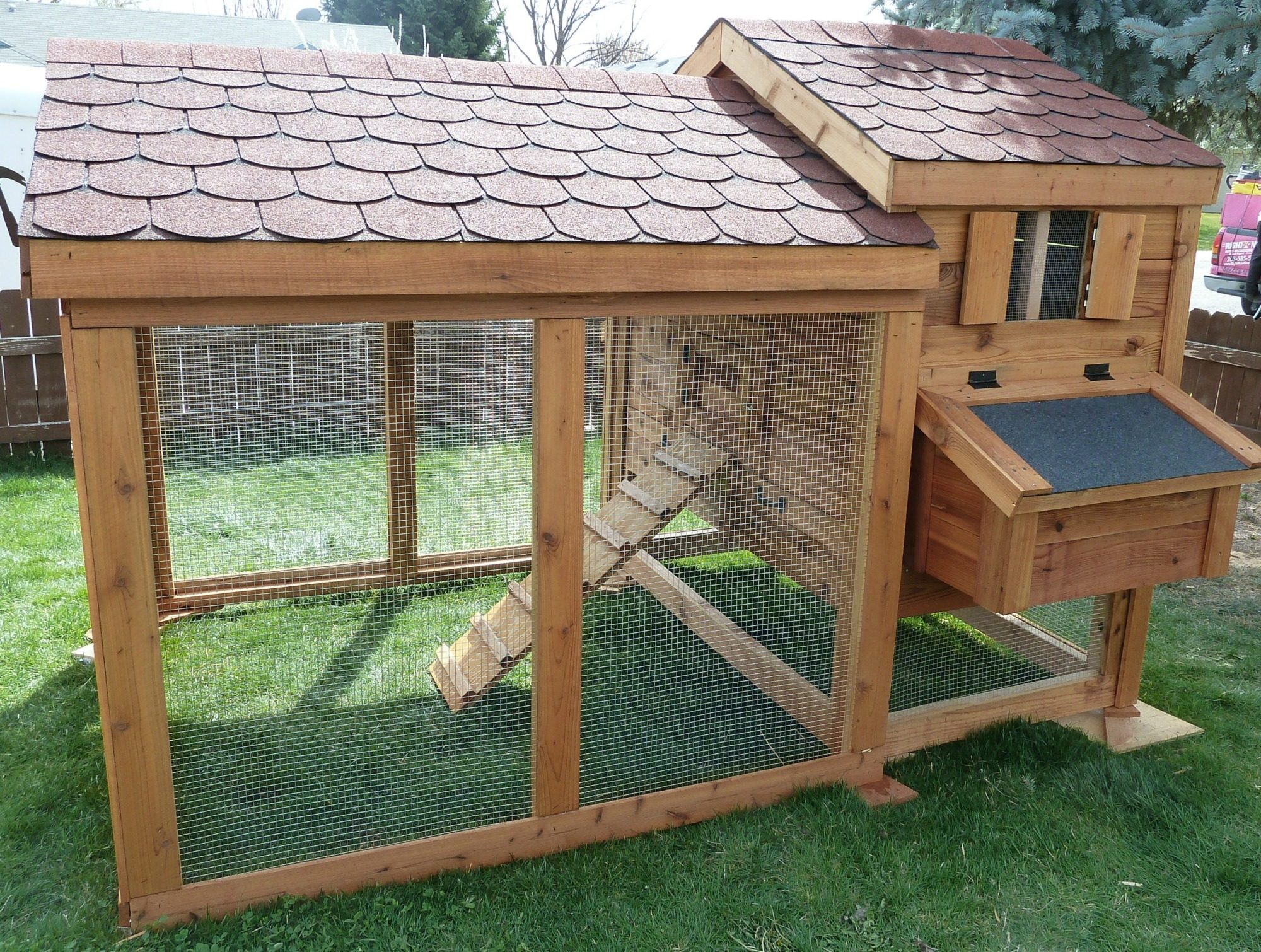 cute amish style cedar sided coop and run backyard chickens
