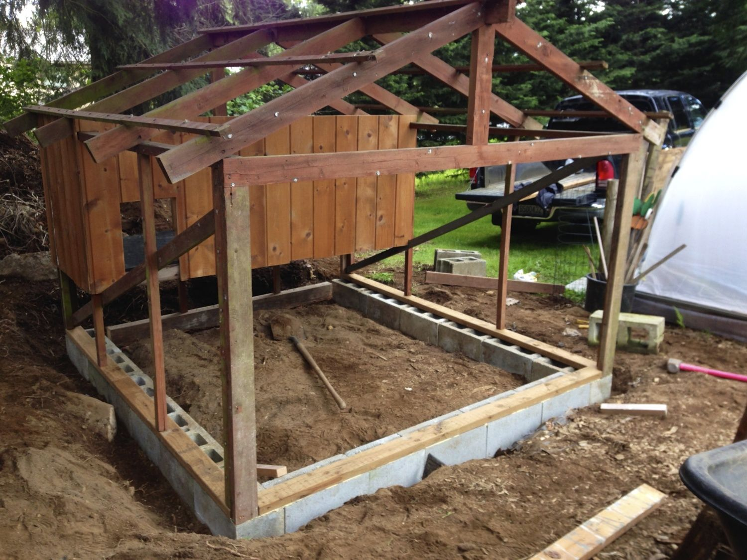 Repurposed garden shed to quaint coop backyard chickens for Types of shed foundations