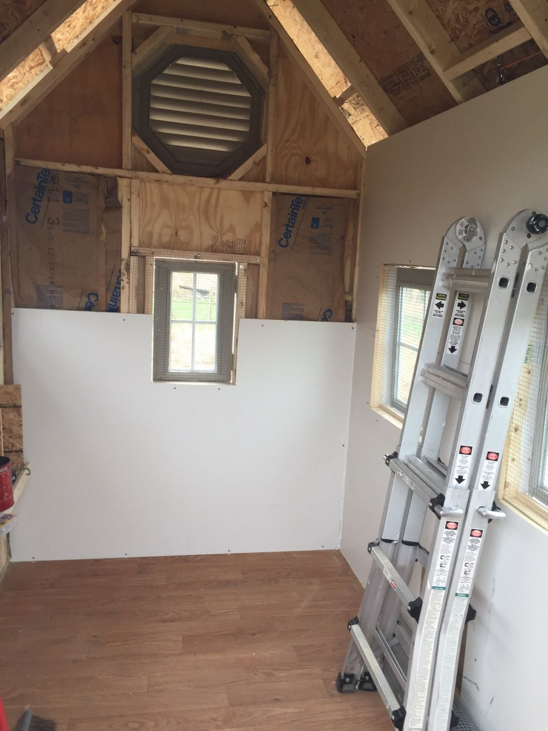 Insulation and wall covering begin to go up.