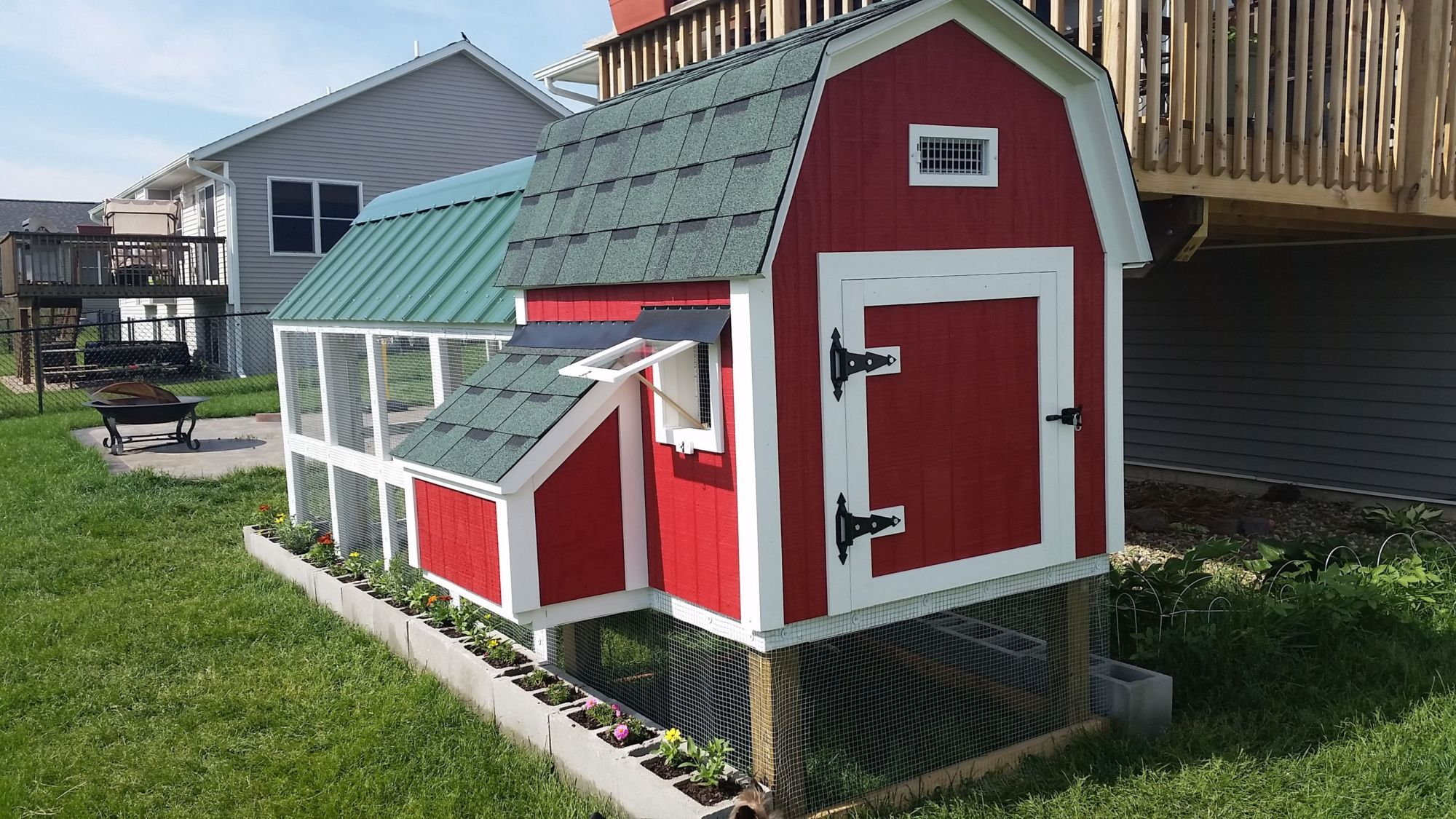 barn style coop with 4x10 run in a suburban neighborhood