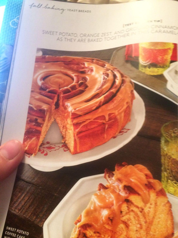 sweet potato coffee cake with caramel glaze