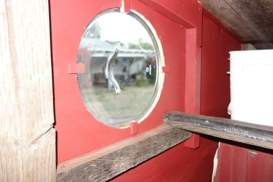 porthole window. The second roost went right under it.