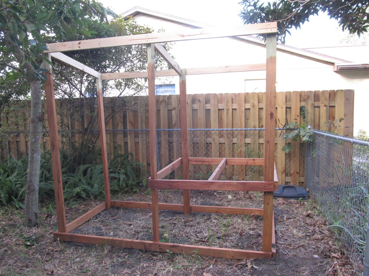 My coop - the beginning. This is the basic frame - mostly done with the staining.