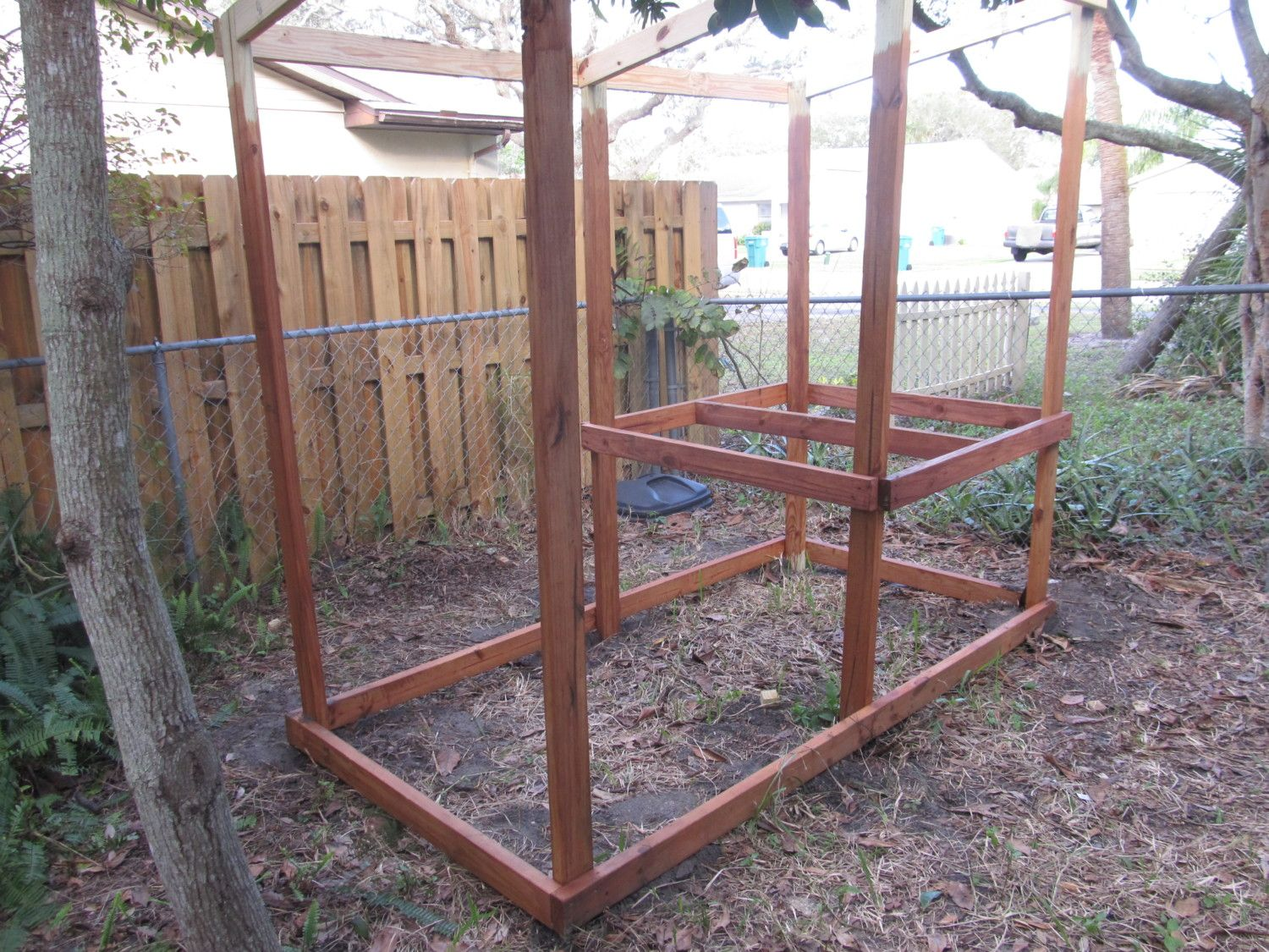 Corner view of the coop frame.