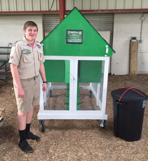 I built a model chicken coop for the 4H as my Eagle Scout Project. The 4-H offers young people an opportunity to participate in a series of activities designed to improve citizenship, sportsmanship, character, competitive spirit, discipline, responsibility and livestock knowledge, while creating an atmosphere of personal development and awareness of life around us. As a part of their Livestock Program, the 4-H offers workshop training classes to educate individuals on how to properly raise chickens. With this education, raising chickens will become more visually pleasing, more sanitary, and more secure. As a result, the 4-H hopes that the public perception of chickens will improve and become more acceptable for many counties. This Eagle project will benefit the 4-H by providing a replicable model that demonstrates how to construct proper housing and a compost bin for sanitary purposes to use in raising chickens. The coop will also be on display at the Martin County Fair each year.