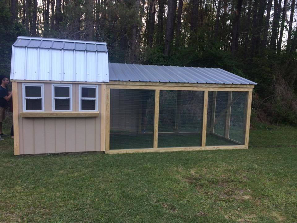 Here is our coop before paint. It will hold 16 comfortably. A big thank you to Curtis at Curtis's Coops in NC for building us a beautiful and sturdy coop!