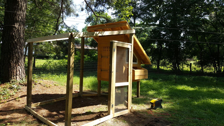 Self Leveling Siding : Coop built around a custom window backyard chickens