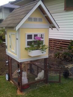Gallinero con forma de casita hawaiana