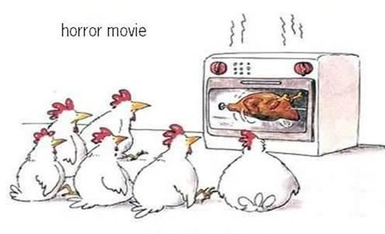 "Cartoon Pics And Quotes About Chickens: Funny Cartoon ""Horror Movie, Chicken Style"""