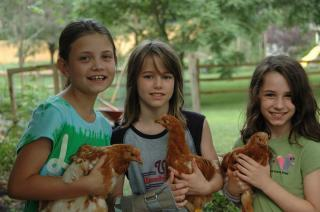Three 10-year-olds holding their hens