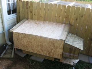 Here is the back of our coop, the day we finished it
