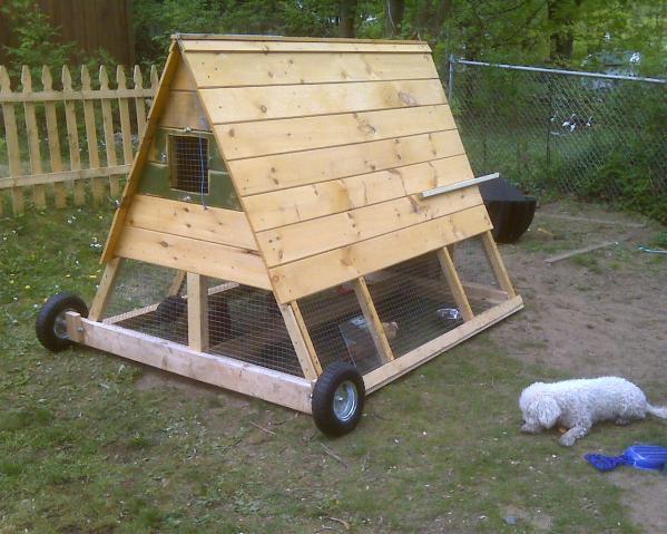 Chicken Tractors On Wheels : Got wheels and handles on my chicken tractor ark