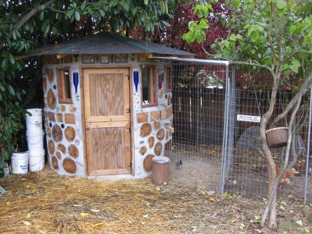 The chicken castle backyard chickens for Cordwood house foundation