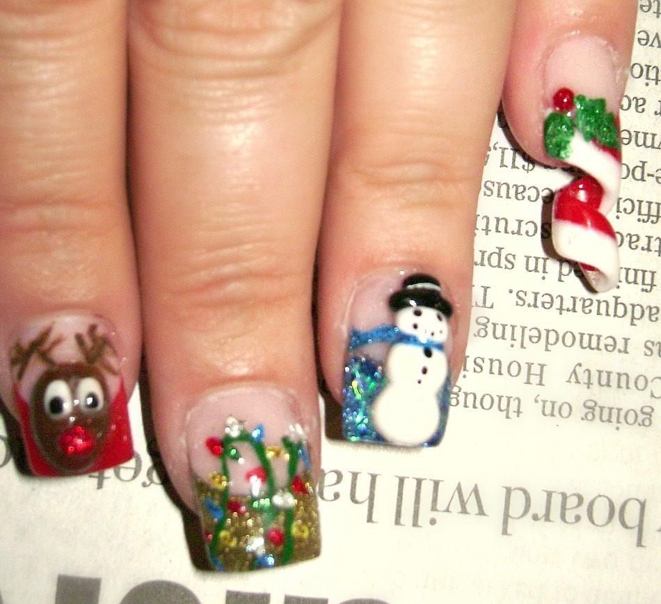 Hand Painted Christmas Nail Art: BackYard Chickens