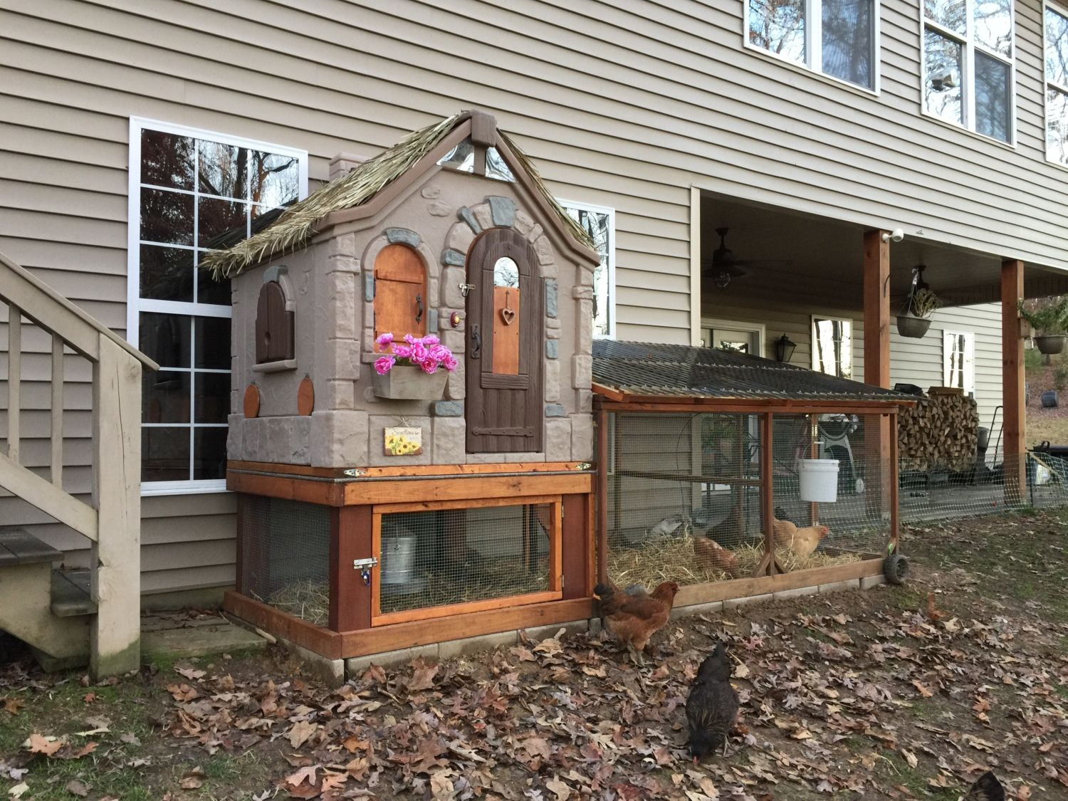 Cottage Playhouse Plastic Chicken Coop Backyard